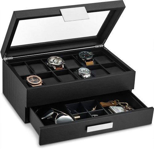 Glenor Co Watch Box with Valet Drawer for Men - Men's Jewellery Boxes