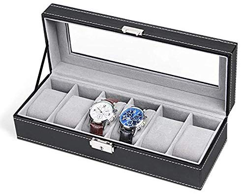 NEX 6 Slot Leather Watch Box Display Case Organizer Glass Jewelry Storage Black - Men's Jewellery Boxes