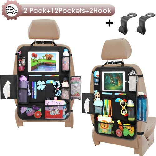 Car Seat Organizer-Backseat Car Organizer with Touchable Tablet Holder