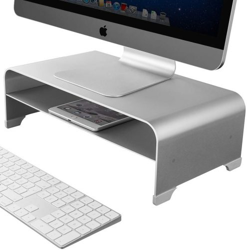 2 Tiers Aluminum Monitor Stand Shelf Riser Metal Desk Stand Base up to 27 inches Screens for PC