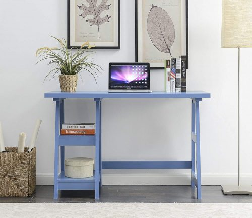 Convenience Concepts 090107BE Trestle Desk, Blue