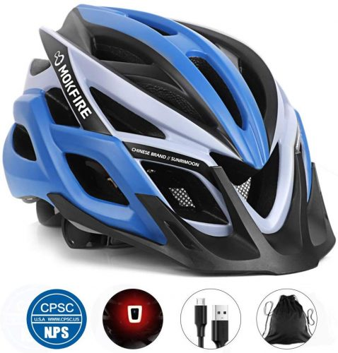 MOCK FIRE Adult Bike Helmet CPSC Certified with Rechargeable USB Light