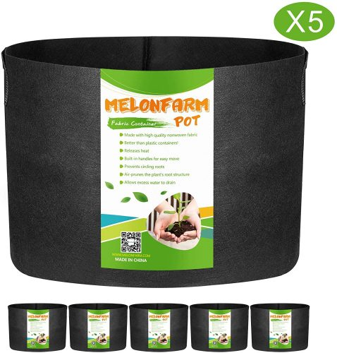 MELONFARM 5-Pack 20 Gallon Grow Bags Heavy Duty Aeration Fabric Pots, Thickened Non-Woven Plant Smart Pots