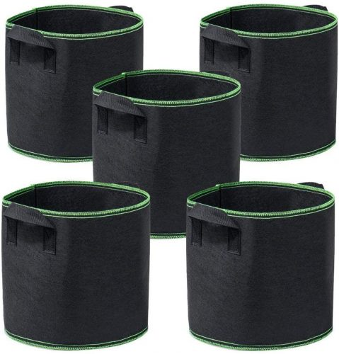 Garden4Ever Grow Bags 5-Pack 10 Gallon Aeration Fabric Pots Container with Handles