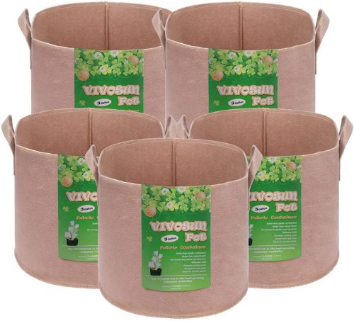 VIVOSUN 5-Pack 3 Gallons Heavy Duty Thickened Nonwoven Fabric Pots