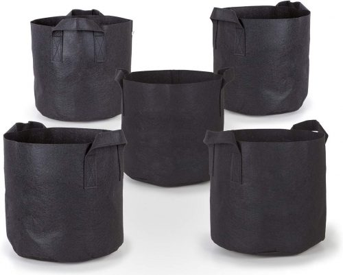 247Garden 5-Pack 5 Gallon Grow Bags/Aeration Fabric Pots w/Handles (Black)