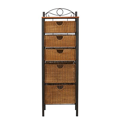 5 drawer storage unit/ wicker basket-versatile tower