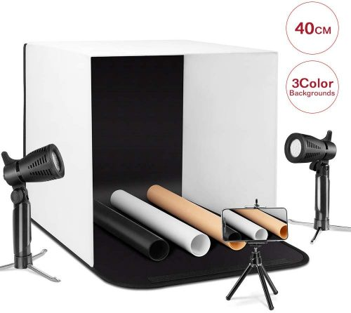 Depthlan Photo Light Box Photographing Shooting Tent for Small Items and Jewellery 13x13 inch with Four Backdrops Included Folding Photo Studio Kit Box