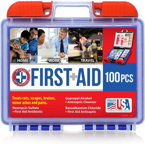 Be Smart Get Prepared 10HBC01082 100Piece First Aid Kit, Clean, Treat & Protect Most Injuries with The Kit That is Great for Any Home, Office, Vehicle