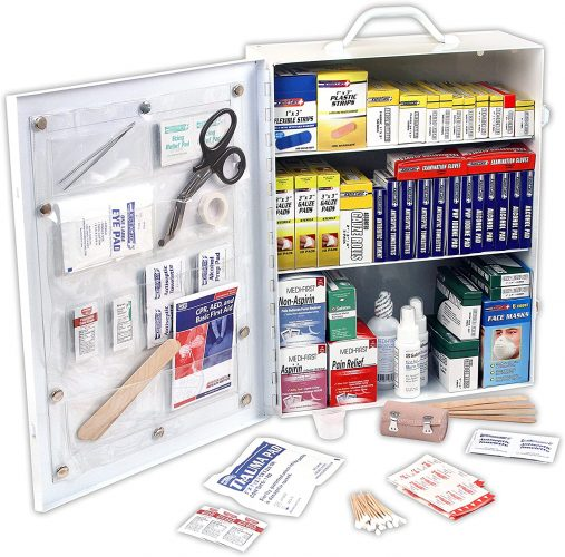 Rapid Care First Aid 80094 3 Shelf ANSI/OSHA Compliant All-Purpose First Aid Cabinet, Wall Mountable, 800 Pieces
