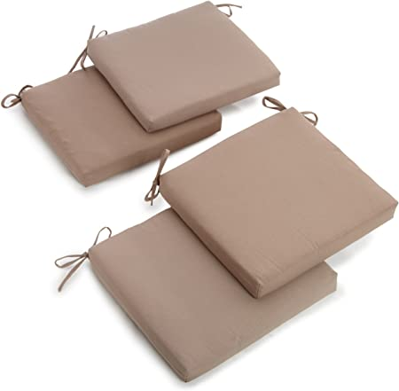 Blazing Needles Twill 19-Inch by 20-Inch by 3-1/2-Inch Zippered Cushions, Toffee, Set of 4