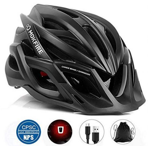 MOKFIRE Adult Bike Helmet CPSC Certified with Rechargeable USB Light