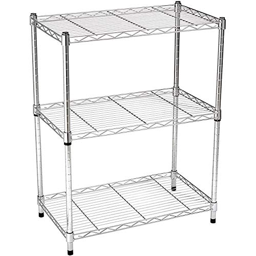 3-Shelf Shelving Storage Unit, Metal Organizer Wire Rack, Chrome Silver (23.2L x 13.4W x 30H)