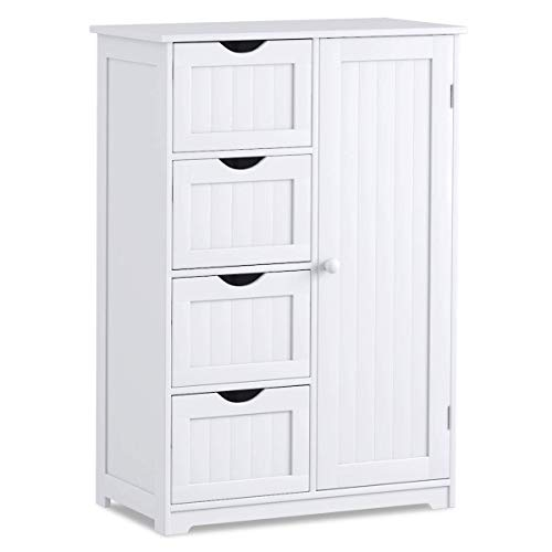 Giantex Bathroom Floor Cabinet Wooden with 1 Door & 4 Drawer