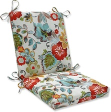 "Pillow Perfect Outdoor/Indoor Alatriste Ivory Square Corner Chair Cushion, 36.5"" x 18"", Floral"