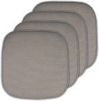 "Sweet Home Collection Memory Foam Chair Cushion Honeycomb Pattern Solid Color Slip Non Skid Rubber Back Ultimate Comfort and Softness Rounded Square 16"" x 16"" Seat Cover, 4 Pack, Silver"