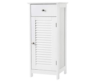 Vasagle bathroom floor cabinet storage organizer set with drawer and single shutter door wooden white