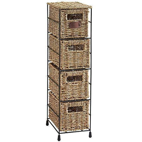 VonHaus 4 Tier Small Seagrass Basket Storage Tower Unit with Metal Frame