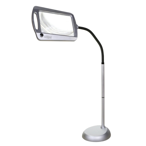 Full-Page Floor Magnifying Lamp – Silver