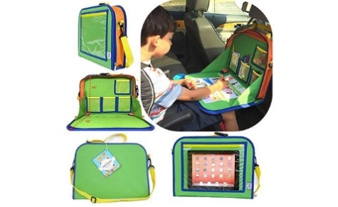 Kids Backseat Travel Tray Organizer Holds Crayons Markers an iPad Kindle or Other Tablet