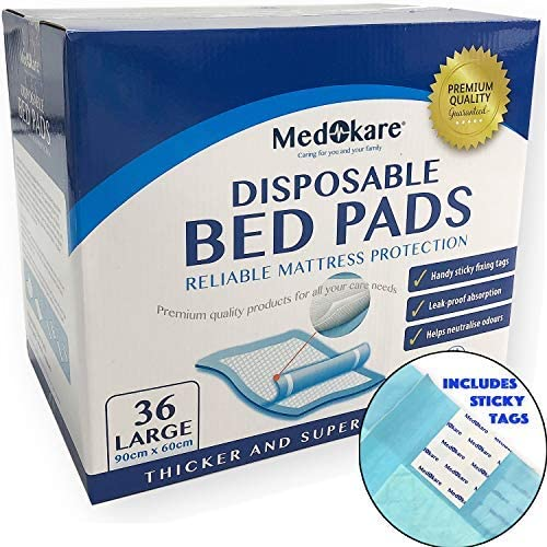 Medokare Disposable Incontinence Bed Pads - Hospital Grade 1500ml Super Absorbent Disposable Bed Mats for Bedwetting
