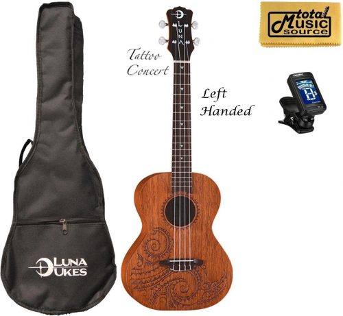 Luna Mahogany Tattoo Concert Ukulele for Left-Handed Players