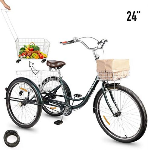 HIRAM 3-Wheeled Adult Tricycle with Removable Basket