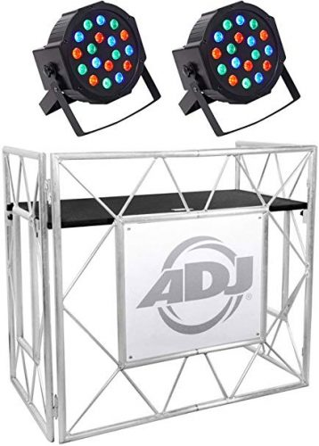 American DJ Pro Event Table II Foldable Portable DJ Booth Truss Facade+Lights