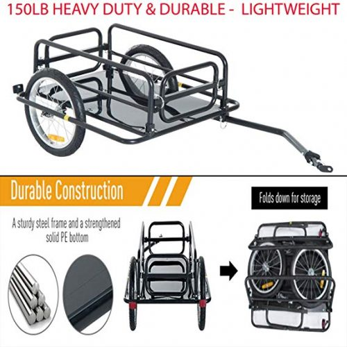 150lb Heavy Duty & Durable Steel Frame Bicycle Bike Cargo Trailer Luggage Cart Carrier Quick and Easy Attaching and Removing. Black