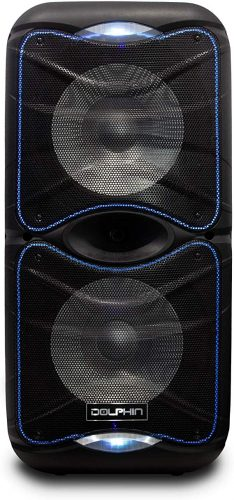 Dolphin Outdoor Party Speakers with Lights, Wireless Bluetooth Portable Stereo, PA System with Expandable Battery