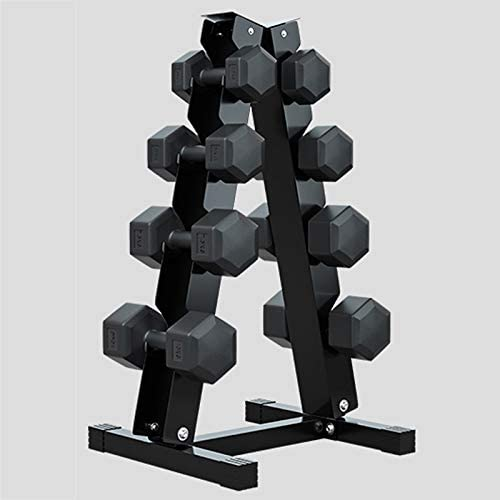 Hexagonal Dumbbell Set with a rack