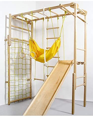 Wooden Indoor Foldable Climbing Playset | Playground for Kids | Gym Sets Up with Hammock Climbing Ladder Swing Slide and Rings (Natural Color)