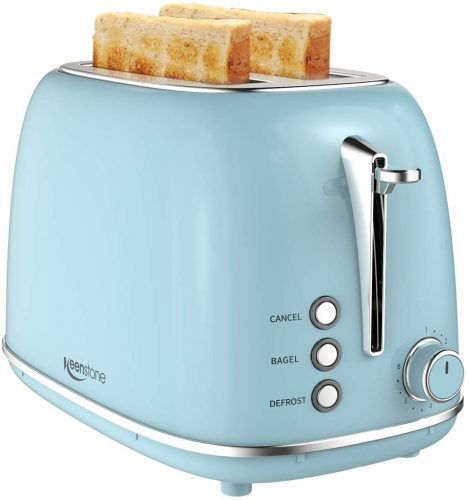 2 Slice Toaster Retro Stainless Steel Toaster with Bagel