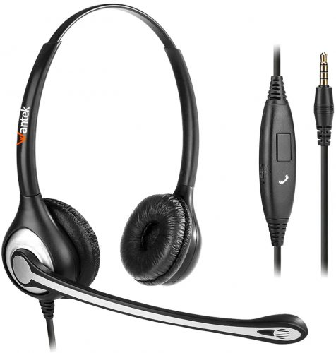 Wantek Corded USB Headsets Mono with Noise Cancelling Mic