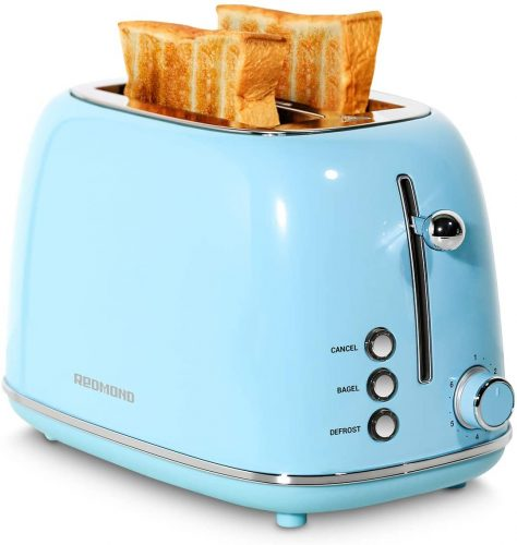 REDMOND 2 Slice Toaster Retro Stainless Steel Toaster with Bagel
