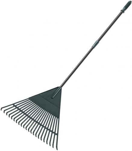 ORIENTOOLS Garden Leaf Rake, Adjustable Lightweight Steel Handle Poly Shrub Rake