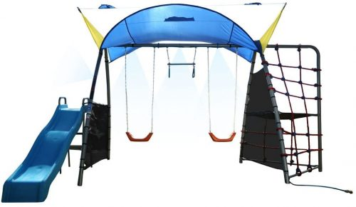 IRONKIDS Challenge 300 Refreshing Mist Swing Set with Rope Climb, Expanded UV Protective Sunshade