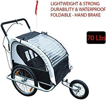 70Lbs Lightweight & Strong Double Baby Bike Trailer Stroller Child Bicycle Kids Jogger