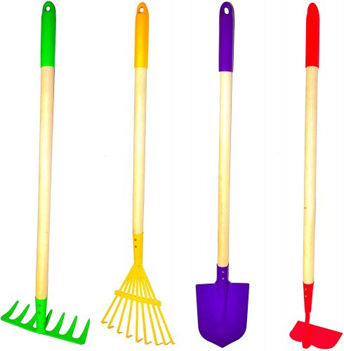 G & F Products JustForKids Kids Garden Tool Set Toy, Rake, Spade