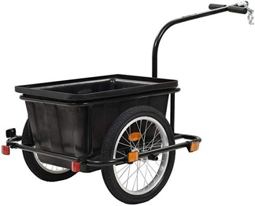 Canditree 50 L Bike Cargo Trailer with 2 Wheels Steel Frame Black
