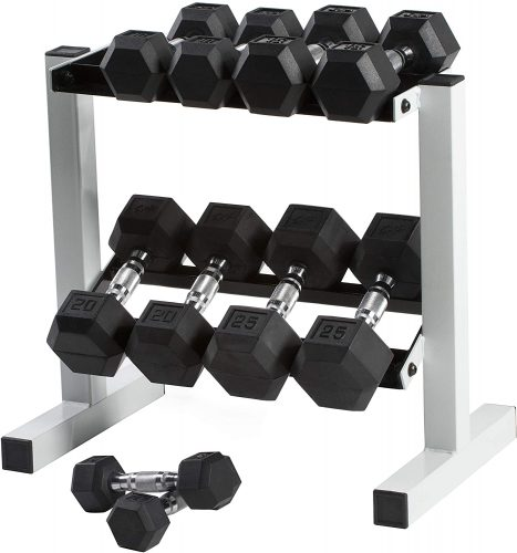 CAP Barbell Dumbbell Set and rack