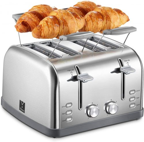 Yabano 4 Slice Toaster, Retro Bagel Toaster with 7 Bread Shade