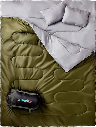 Sleepingo Double Sleeping Bag for Backpacking, Camping, Or Hiking, Queen Size XL!