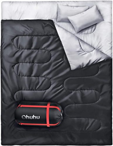 Ohuhu Double Sleeping Bag, 2 Persons, 2 Pillows, XL Queen Size
