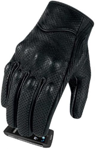 Goat Skin, Leather, Full Finger Touch Screen Motorcycle Gloves ( S, M, L, XL)