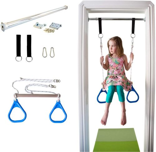 DreamGYM Indoor Swing Trapeze Bar and Gymnastic Rings Combo