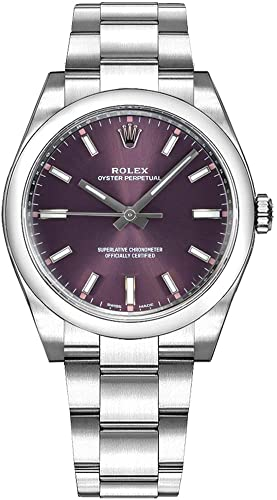 9. Rolex Oyster Prepetual Automatic Purple Grape Dial Stainless Steel Unisex Luxury