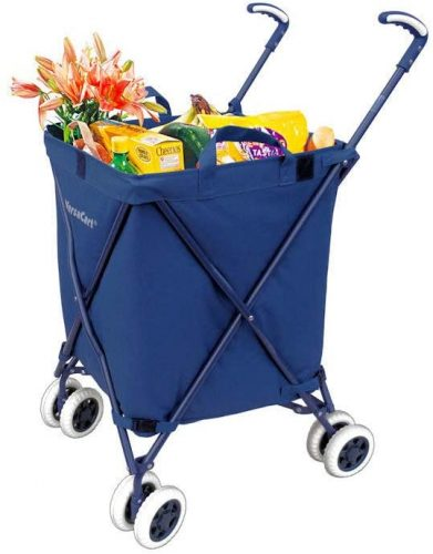 VersaCart Transit Original Folding Shopping and Utility Cart, Water-Resistant Heavy-Duty Canvas with Cover, Double Front Swivel Wheels, Compact Folding,...