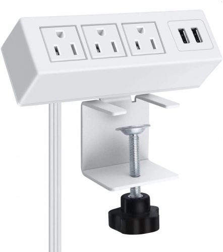 3 Outlet Desk Clamp Power Strip, Desk Mount USB Charging Power Station, Removable Desktop Power Center Plugs Output 125V/60HZ/12A/1500W, USB 5V/2.1A 6.56FT Cable