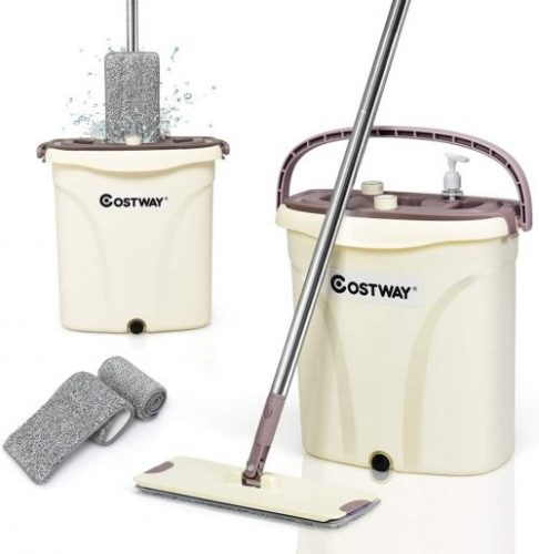 COSTWAY Mop and Bucket Set with 2PCS Microfiber Pads